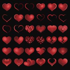 Set of red symbol heart, vector