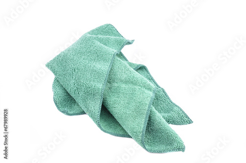 Crumpled green microfiber cloth isolated on white background - 67989928