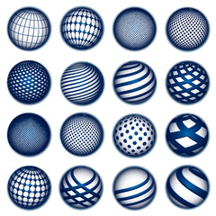 Blue planet symbols, vector
