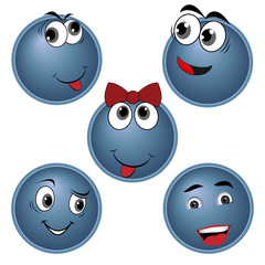 blue Smiles character set, vector