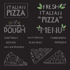 Pizza lettering, logo and the names of dishes of pizza