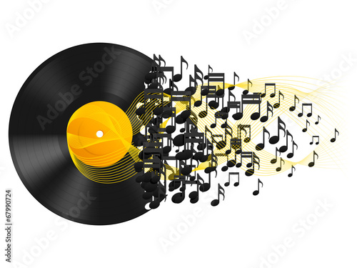 Vinyl record and music notes.