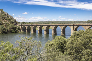 ancient bridge over Esla river in Spain