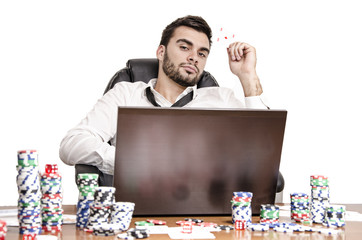Poker player holding ace