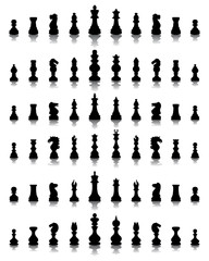 Black silhouettes and shadows of chessmen, vector