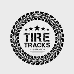 Tire tracks. Illustration on grey background