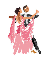 watercolor sketch of dancing couple