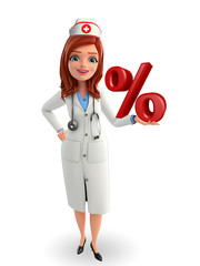 Nurse Character with  percentage