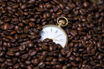 Watches are in coffee beans