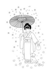 Camminando sotto la pioggia di fiori
