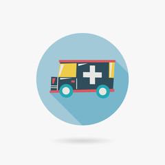 ambulance Flat long shadow icon