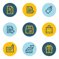 Shopping web icon set 1 , blue and yellow circle buttons