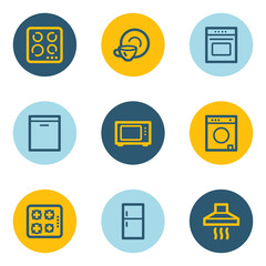 Home appliances web icons, blue and yellow circle buttons