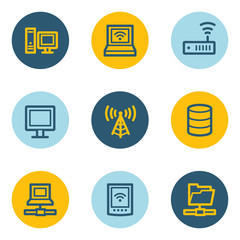 Network web icons , blue and yellow circle buttons