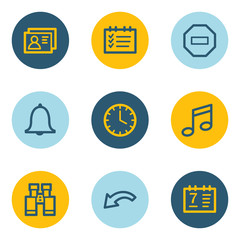 Organizer web icons , blue and yellow circle buttons