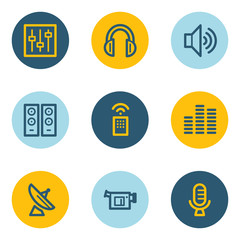 Media web icons , blue and yellow circle buttons