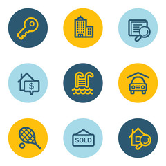 Real estate web icons, blue and yellow circle buttons