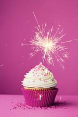 Birthday cupcake with a sparkler