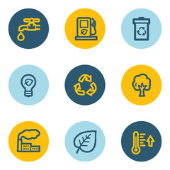 Ecology web icon set 1, blue and yellow circle buttons