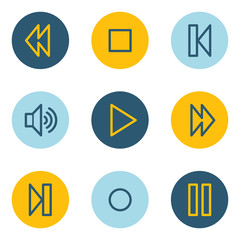 Media player web icons , blue and yellow circle buttons