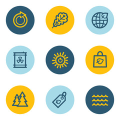 Ecology web icon set 3, blue and yellow circle buttons