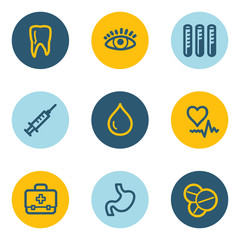 Medicine web icon set 1 , blue and yellow circle buttons