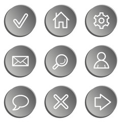Basic web icons , grey stickers set