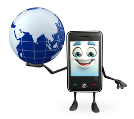 Mobile character with globe