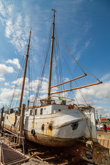 Large sailing boat in dock