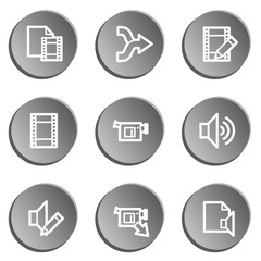 Audio video edit web icons, grey stickers set
