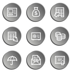 Banking web icons, grey stickers set