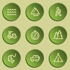 Travel  web icon set 3,  green paper stickers set