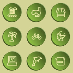 Vacation web icons , green paper stickers set