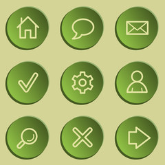 Basic  web icons , green paper stickers set