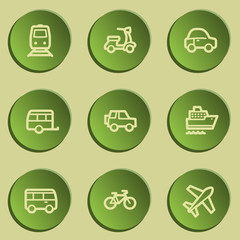 Transport web icons , green paper stickers set