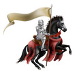 Knight on horse with flag