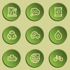 Ecology web icon set 4, green paper stickers set