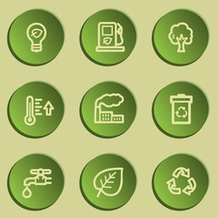Ecology web icon set 1, green paper stickers set