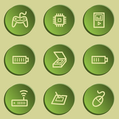 Electronics web icon set 2, green paper stickers set