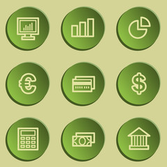 Finance web icon set 1, green paper stickers set
