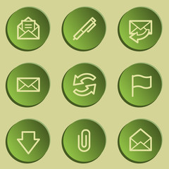 E-mail web icons, green paper stickers set