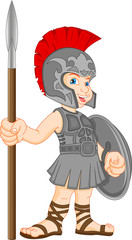 boy wearing roman soldier costume