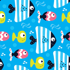Blue fish pattern vector illustration