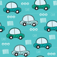 blue car pattern vector illustration