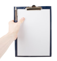 Hand holding an empty paper in a clipboard isolated on white