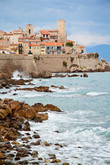 Rocky coast of Antibes, France. French Riviera. Cote d'Azur. C