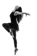 Silhouette of beautiful female ballet dancer