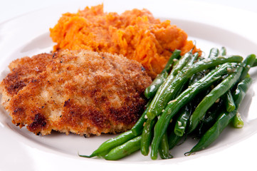 breaded pork schnitzel with sweet potato and green beans