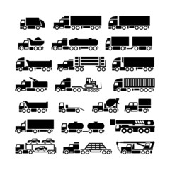 Set icons of trucks, trailers and vehicles