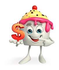 Ice Cream character with dollar sign